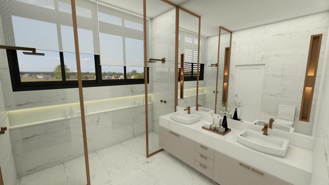 Projeto Ponto Final: aplicação de detalhes no Rose Gold deixam o banheiro sofisticado e clássico