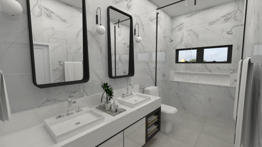 Projeto Ponto Final: modernidade para este banheiro com detalhes em preto