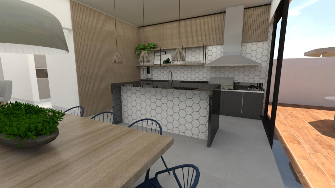 Projeto Loja Ponto Final - área gourmet  com revestimento hexagonal da Portinari