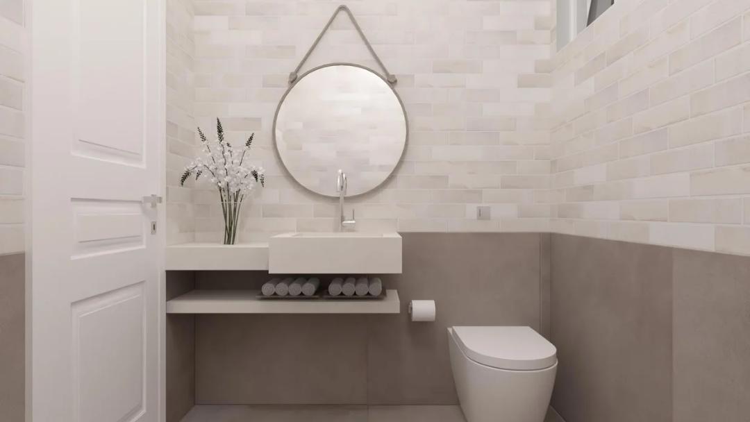 Inspiração: lavabo com produto Cambridge White 07x26cm da Portobello I Linha All Bricks