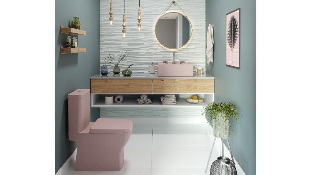Inspirações: banheiro com cuba e vaso sanitário no tom rose