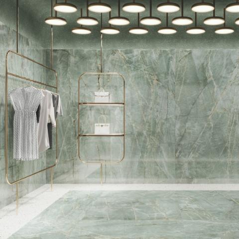 Ambiente revestido com porcelanato esmaltado polido Roca Topazio 120x120